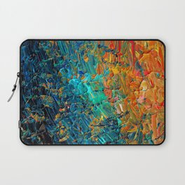 ETERNAL TIDE 2 Rainbow Ombre Ocean Waves Abstract Acrylic Painting Summer Colorful Beach Blue Orange Laptop Sleeve
