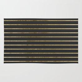 Elegant Chic Yellow Gold Stripes and Black Rug