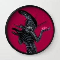 xenomorph Wall Clocks featuring Xenomorph by Sudjino