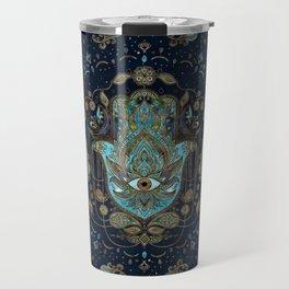 Hamsa Hand -Hand of Fatima Blue Gemstones Travel Mug