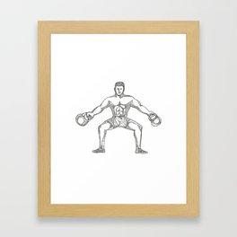 Fitness Athlete Lifting Kettlebell Doodle Art Framed Art Print
