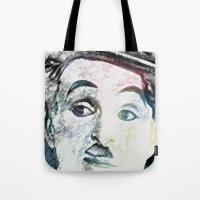 chaplin Tote Bags featuring Chaplin by Marian - Claudiu Bortan