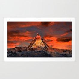 Matterhorn, Switzerland Mountaintop at Sunset Art Print