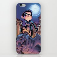 nightwing iPhone & iPod Skins featuring Lil' Nightwing by J Skipper