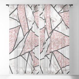 Geometric Marble Glitter Sheer Curtain