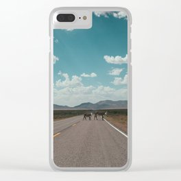 cows on the open road Clear iPhone Case