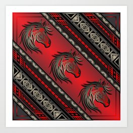 Horse Nation (Red) Art Print