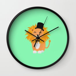 Lion with bow tie  T-Shirt for all Ages D4y7w Wall Clock