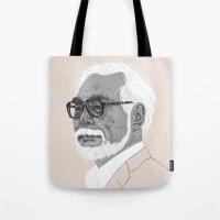 hayao miyazaki Tote Bags featuring Hayao Miyazaki by Andy Christofi