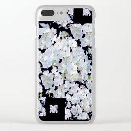 MODERN ART BLACK & WHITE FLORAL GARDEN Clear iPhone Case