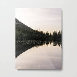 Reflection of pine tree forest on mountain in lake - pastel colored sky - fine art photo print - Norway  Metal Print