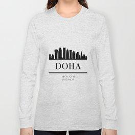 DOHA QATAR BLACK SILHOUETTE SKYLINE ART Long Sleeve T-shirt