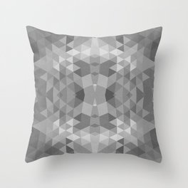 Black and White Fractal Geometric Pattern Throw Pillow