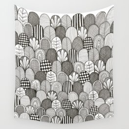 black and white scaley pattern Wall Tapestry