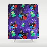 playstation Shower Curtains featuring Nerdy Cat by Oh Monday