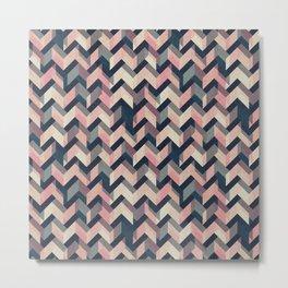 Multicolor Kawaii Zigzag Pattern Metal Print