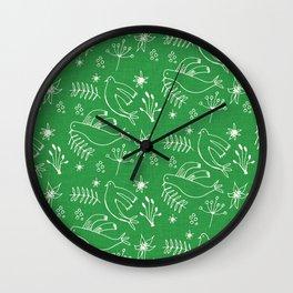 Christmas Dove Green Wall Clock