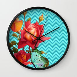 Floral Chevron, roses and butterfly aqua, turquoise Wall Clock