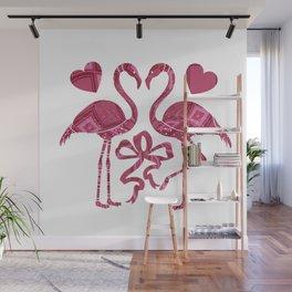 Whimsical Flamingos Wall Mural