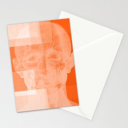 Untitled Abstract No. 23   Orange Human Anatomy Stationery Cards