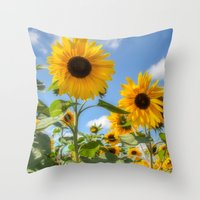 sunflowers Throw Pillows featuring Sunflowers by David Tinsley