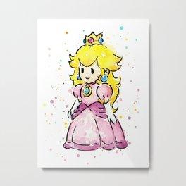 Princess Peach Mario Watercolor Game Art Metal Print