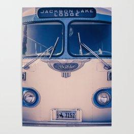 Jackson Lake Lodge Vintage Bus Print Poster