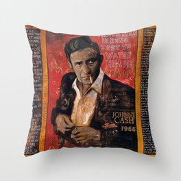 Red Johnny Cash Throw Pillow