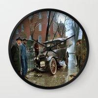 jewish Wall Clocks featuring Rainy Day, Washington, D.C. by Brown Eyed Lady