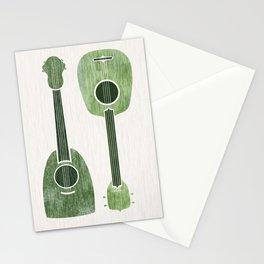 Hawaiian Ukuleles - Emerald Green Stationery Cards