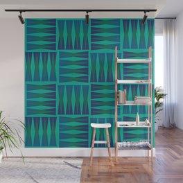 Teal Blue Hourglass Shape Pattern Wall Mural
