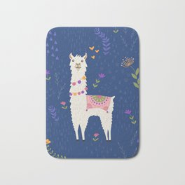 Llama on Blue Bath Mat