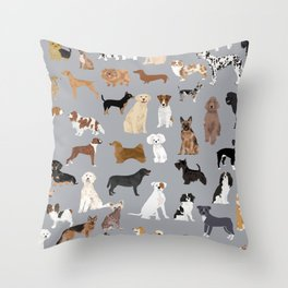 Mixed Dog lots of dogs dog lovers rescue dog art print pattern grey poodle shepherd akita corgi Throw Pillow