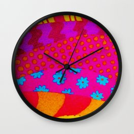 THE HIPSTER - Cool Colorful Vibrant Abstract Mixed Media Trendy Fabric Patterns Illustration Wall Clock