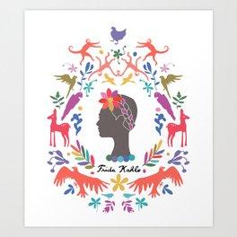 Frida Cameo in Blanca Art Print