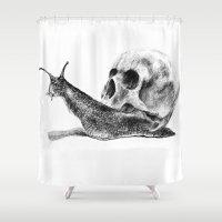 skull Shower Curtains featuring Skull by Anna Shell