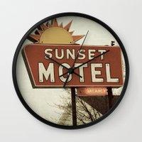 fargo Wall Clocks featuring Sunset Motel by angela haugland