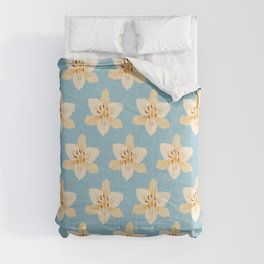 Day Lily Illustrative Pattern on Light Blue Comforters