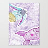 eeyore Canvas Prints featuring eeyore and piglet by Art_By_Sarah