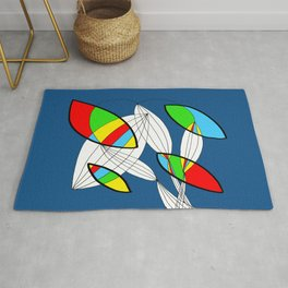 4 colors Organic objects on Blue Rug