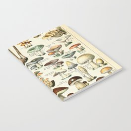 Vintage Mushroom & Fungi Chart by Adolphe Millot Notebook