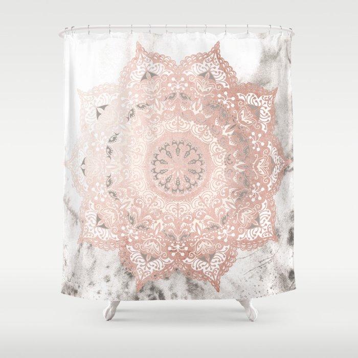 Dreamer Mandal Rose Gold Shower Curtain By Mermaidandunicorn