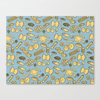 pasta Canvas Prints featuring pasta  by Jen Gottlieb