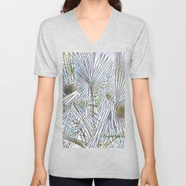 Abstract Palm, Palm Tree Design, White colorful palm, Unisex V-Neck