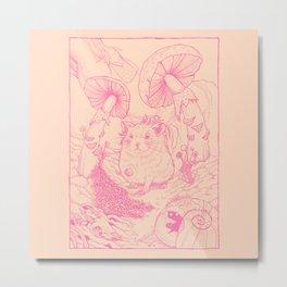 Hamster In Wonderland Pink Version Metal Print