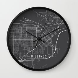 Billings Map, USA - Gray Wall Clock