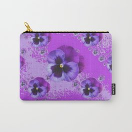 ABSTRACT ART PURPLE PANSY GARDEN  PATTERNS  FLORAL ART Carry-All Pouch