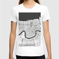new orleans T-shirts featuring New Orleans Map Gray by City Art Posters