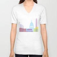washington dc V-neck T-shirts featuring Washington DC skyline pop by Paulrommer