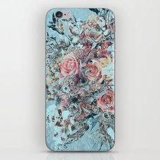 Lush vintage floral pastel wood panel iPhone & iPod Skin